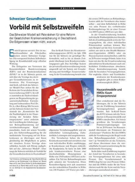 Schweizer Gesundheitswesen