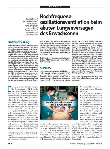 Hochfrequenzoszillationsventilation beim akuten...