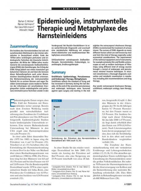 Epidemiologie, instrumentelle Therapie und...