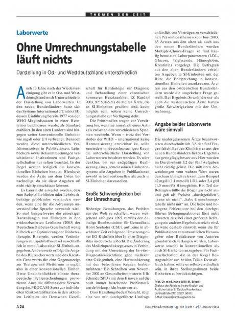Laborwerte: Ohne Umrechnungstabelle läuft nichts