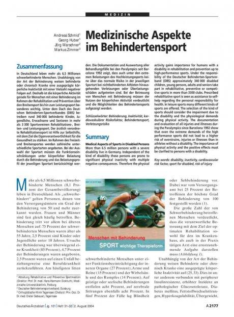 Medizinische Aspekte im Behindertensport