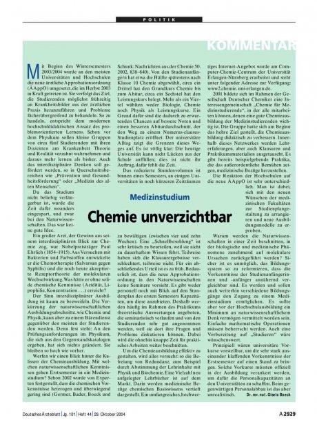 Medizinstudium: Chemie unverzichtbar
