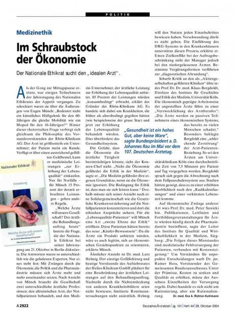 Medizinethik: Im Schraubstock der Ökonomie