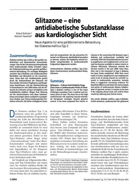 Glitazone – eine antidiabetische Substanzklasse...