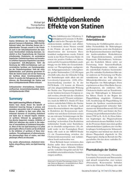 Nichtlipidsenkende: Effekte von Statinen