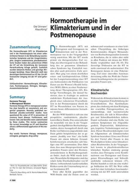 Hormontherapie im Klimakterium und in der Postmenopause