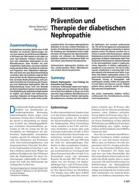 Prävention und Therapie der diabetischen Nephropathie