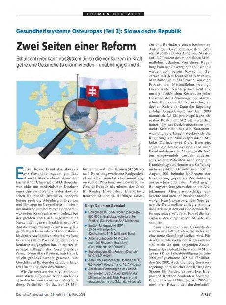 Gesundheitssysteme Osteuropas (Teil 3): Slowakische Republik – Zwei Seiten einer Reform