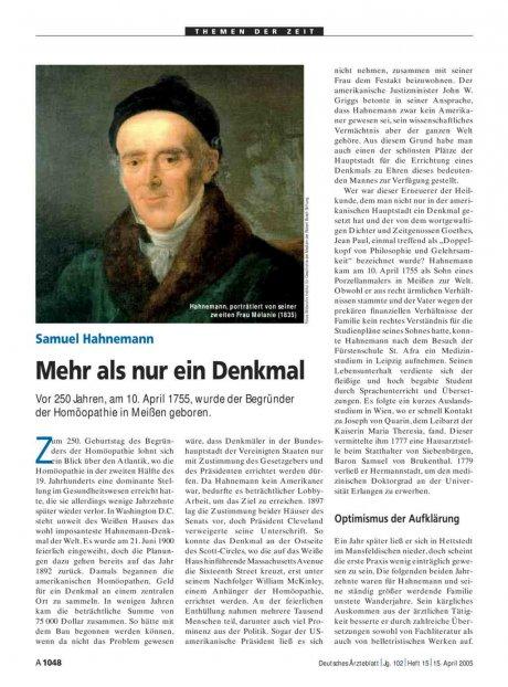 Samuel Hahnemann: Mehr als nur ein Denkmal