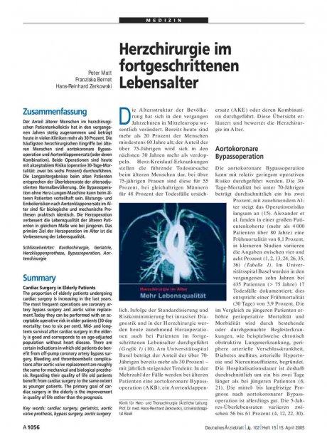 Herzchirurgie im fortgeschrittenen Lebensalter