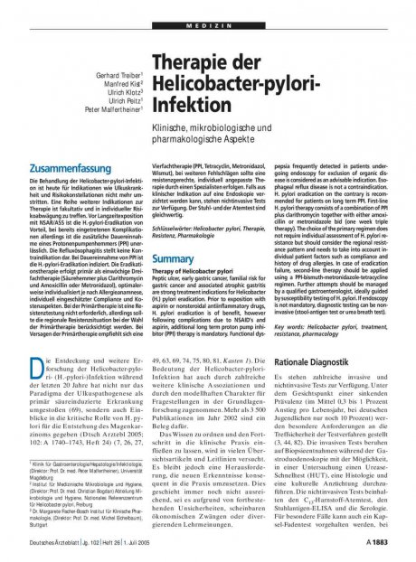 Therapie der Helicobacter-pylori-Infektion