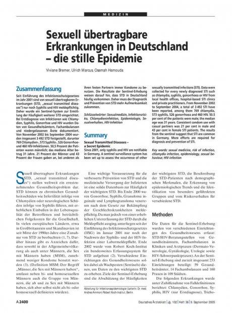 Sexuell übertragbare Erkrankungen in Deutschland –...