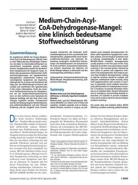 Medium-Chain-Acyl-CoA-Dehydrogenase-Mangel