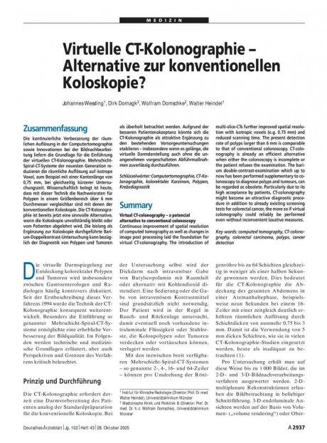 Virtuelle CT-Kolonographie – Alternative zur...