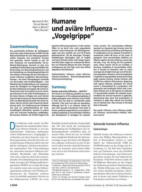 """Humane und aviäre Influenza – """"Vogelgrippe"""""""