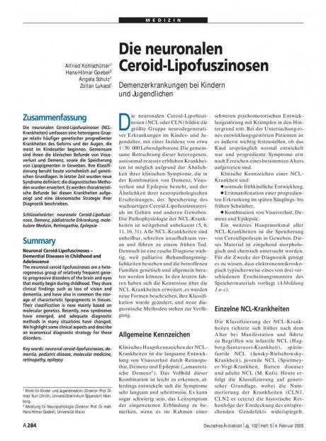 Die neuronalen Ceroid-Lipofuszinosen