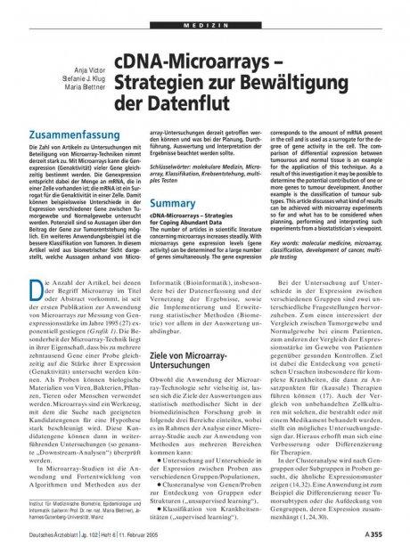 cDNA-Microarrays – Strategien zur Bewältigung der...