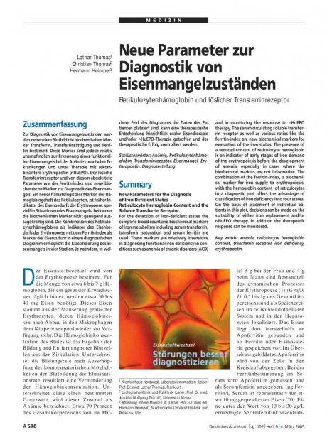 Neue Parameter zur Diagnostik von...