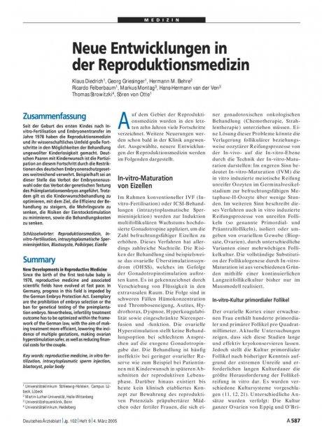 Neue Entwicklungen in der Reproduktionsmedizin