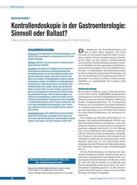 Kontrollendoskopie in der Gastroenterologie