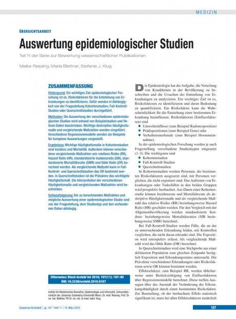 Auswertung epidemiologischer Studien