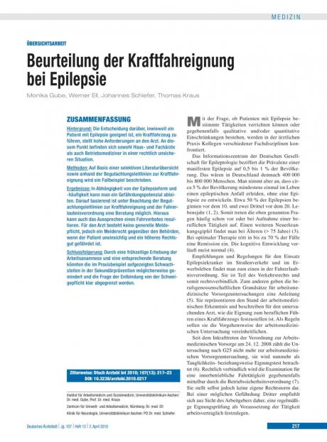 Beurteilung der Kraftfahreignung bei Epilepsie