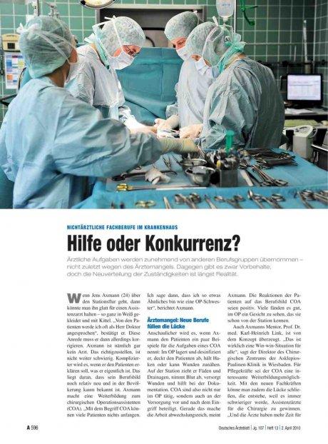 Nichtärztliche Fachberufe im Krankenhaus