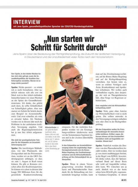 Interview mit Jens Spahn, gesundheitspolitischer...