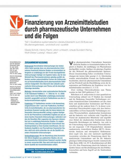 Finanzierung von Arzneimittelstudien durch...