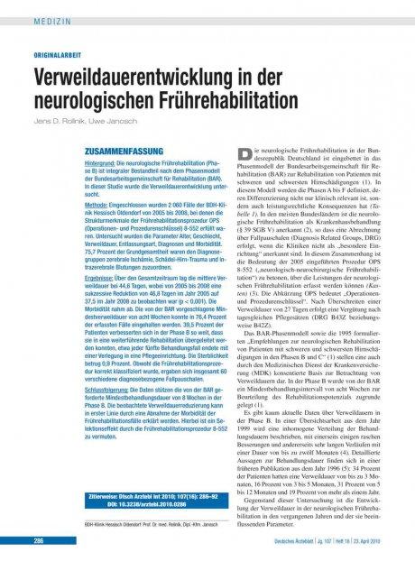 Verweildauerentwicklung in der neurologischen...