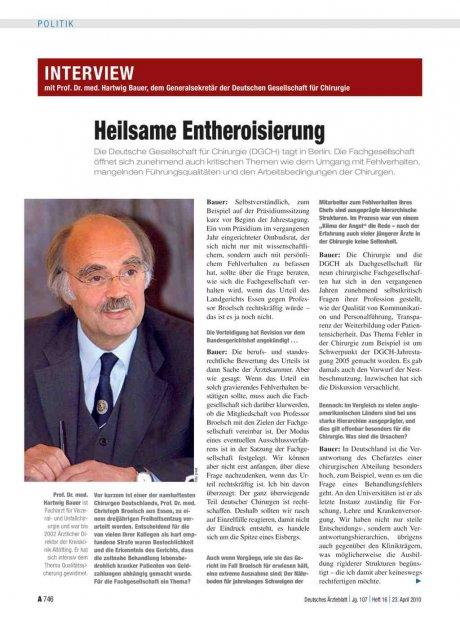 Interview mit Prof. Dr. med. Hartwig Bauer, dem...