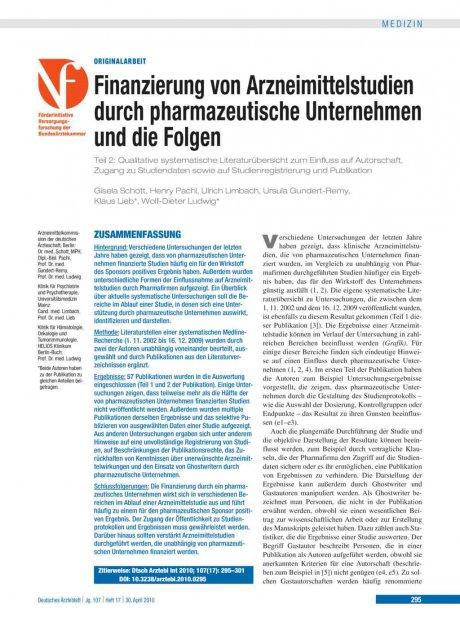 Finanzierung von Arzneimittelstudien durch pharmazeutische Unternehmen und die Folgen – Teil 2