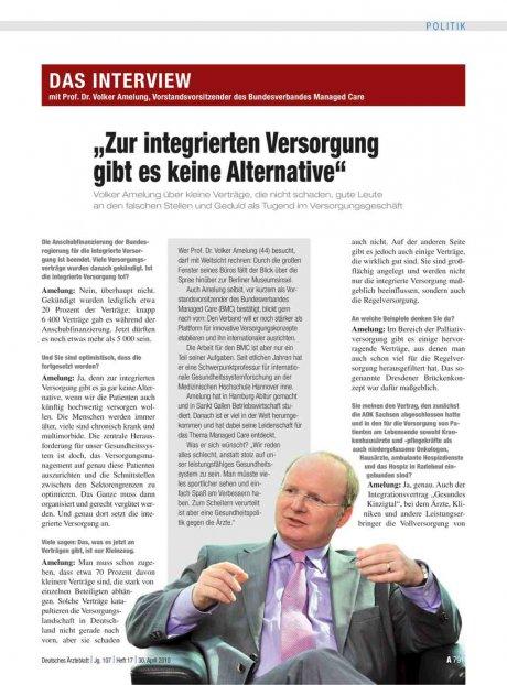 """Interview mit Prof. Dr. Volker Amelung, Vorstandsvorsitzender des Bundesverbandes Managed Care: """"Zur integrierten Versorgung gibt es keine Alternative"""""""