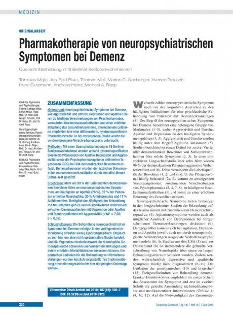 Pharmakotherapie von neuropsychiatrischen Symptomen bei Demenz
