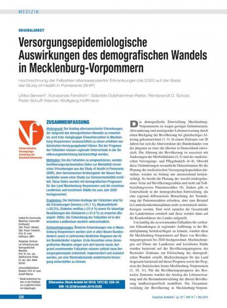 Versorgungsepidemiologische Auswirkungen des demografischen Wandels in Mecklenburg-Vorpommern