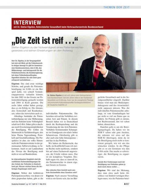 """Interview mit Dr. Stefan Etgeton, Referatsleiter Gesundheit beim Verbraucherzentrale-Bundesverband: """"Die Zeit ist reif . . ."""""""