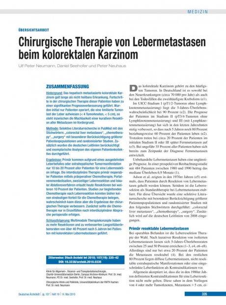 Chirurgische Therapie von Lebermetastasen beim...