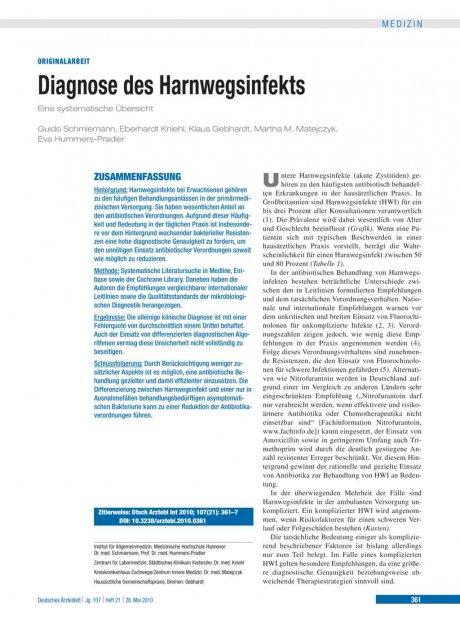 Diagnose des Harnwegsinfekts