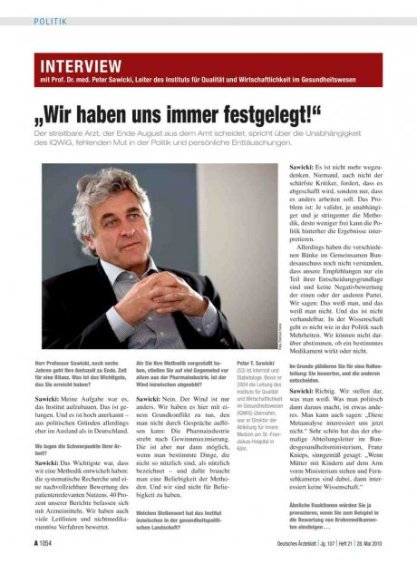 Interview mit Prof. Dr. med. Peter Sawicki, Leiter...