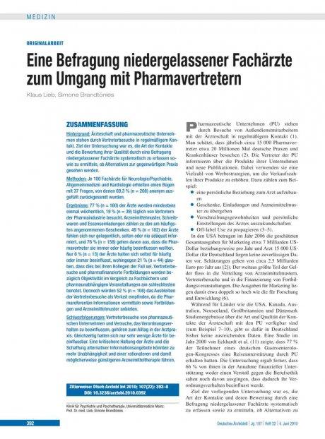 Eine Befragung niedergelassener Fachärzte zum Umgang mit Pharmavertretern