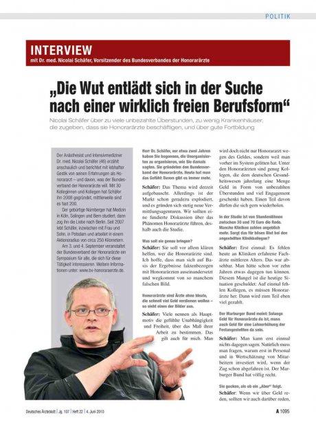 """Interview mit Dr. med. Nicolai Schäfer, Vorsitzender des Bundesverbandes der Honorarärzte: """"Die Wut entlädt sich in der Suche nach einer wirklich freien Berufsform"""""""