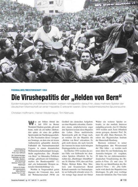 """Fussballweltmeisterschaft 1954: Die Virushepatitis der """"Helden von Bern"""""""