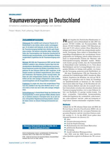 Traumaversorgung in Deutschland