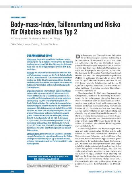 Body-mass-Index, Taillenumfang und Risiko für...
