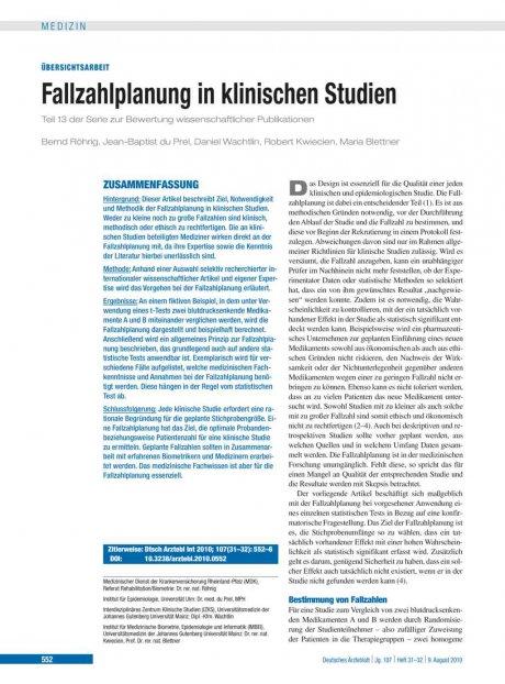 Fallzahlplanung in klinischen Studien