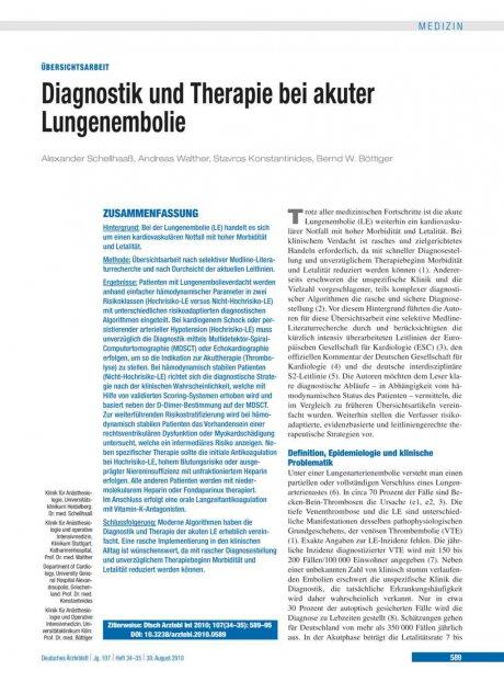 Diagnostik und Therapie bei akuter Lungenembolie