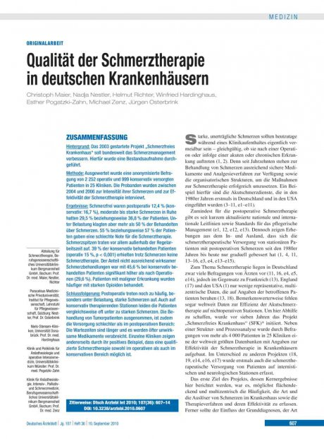 Qualität der Schmerztherapie in deutschen Krankenhäusern
