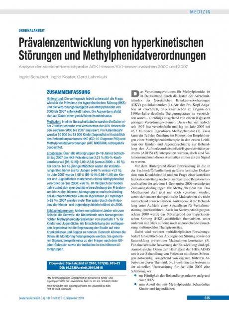 Prävalenzentwicklung von hyperkinetischen Störungen und Methylphenidatverordnungen