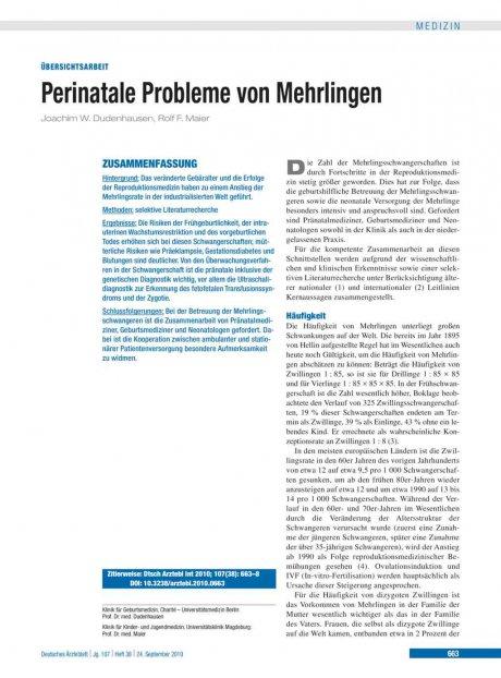 Perinatale Probleme von Mehrlingen