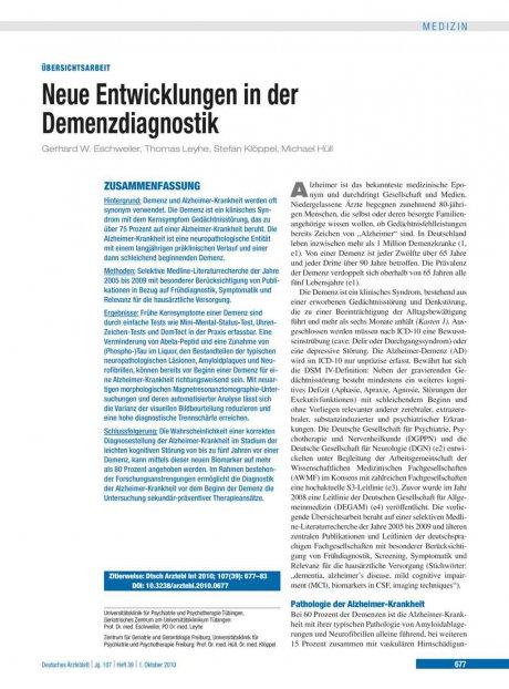 Neue Entwicklungen in der Demenzdiagnostik